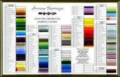 Effetre Glass rod color chart - for lampwork bead making