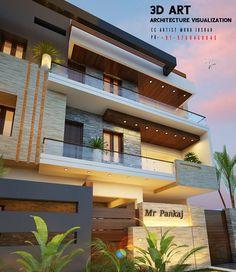 Building Elevation, House Elevation, Johnny Bravo, House Front Design, Interior Decorating, Interior Design, Bungalow, Villa, New Homes