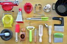I wanted to make a list of the kitchen tools we have used over the years. The ages listed below are approximate. When you introduce these materials to your child depends not only on your child and the