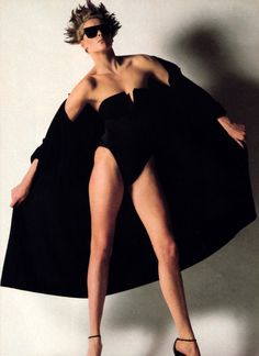 Helmut Newton for American Vogue, May 1983. Clothing by Yves Saint Laurent Beachwear.