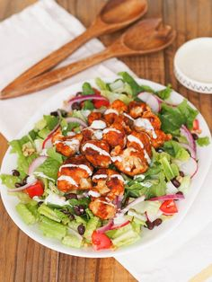 You'll love the crispy barbecue cauliflower on this vegetarian Southwest salad with creamy yogurt ranch!