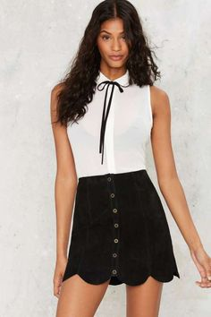 Black Tie Button-Down Blouse - What's New