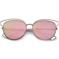 Womens Fashion Open Metal Frame Iridescent Lens Cat Eye Sunglasses 55mm Womens…