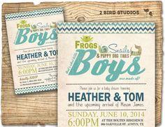 Boy baby shower invitation - frogs snails puppy dog tails baby shower invite - coed boys baby shower printable invitation