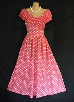 VINTAGE LAURA ASHLEY ENGLISH PINK SPOTTY 50S STYLE SUMMER DRESS 12