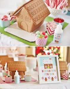 """Decoration Station"" :) Gingerbread houses, would be cute to do with future class. Gingerbread house contest!"