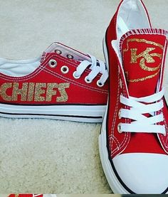 Check out all our Kansas City Chiefs merchandise! Kansas City Chiefs Football, Kansas City Royals, Kc Cheifs, Chiefs Logo, Football Shoes, Football Gear, Converse, E Bay, Sports Baby