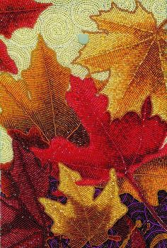 Image result for bugle bead leaf embroidery