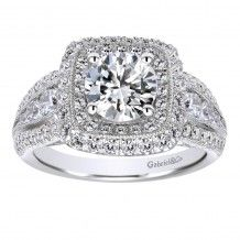 14k White Gold 1.07ct Diamond Gabriel & Co Double Halo Semi Mount Engagement…