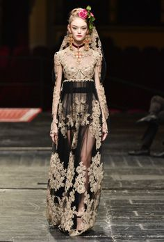 This is dark, and reminds me of some lovely vintage.  Gorgeous Feminine Fashion from Fashion Week 2016  #fw2016 #lace #girlie #sophisticated