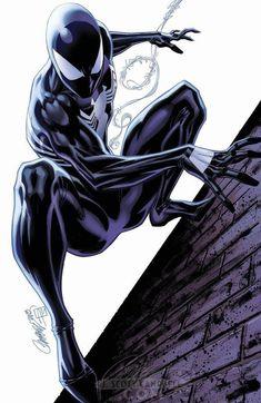Spiderman Black Suit by J. Amazing Spiderman, Spiderman Noir, Art Spiderman, Spiderman Black Suit, Marvel Comic Universe, Marvel Art, Marvel Dc Comics, Marvel Heroes, Marvel Venom