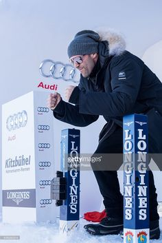 Jason Statham poses in the starting booth of the Hahnenkamm race on January 22, 2016 in Kitzbuehel, Austria.