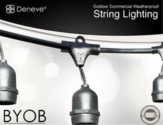 Amazon.com : Outdoor String Lights with 15 E26 Sockets By Deneve® - 48 Feet Long with 15 Sockets Spaced 3 Feet Apart - Connect up to 4 Strands End-to-end - String Lights - Outdoor Lights - Lighting Outdoor - Light Outdoor - Outdoor Lighting - Patio String Lights - Perfect for Backyards, Gazebos, Patios, Gardens, Pergolas, Decks, City Rooftops, Weddings, Bbq, Dinner Parties, Holidays - Commercial Outdoor Lights - Industry-leading 14 AWG Thickest Gauge - Durable and Rugged, Heavy Duty, and ...