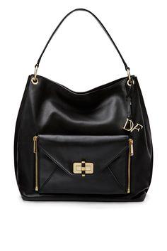 #DVFSecretAgent Leather Hobo Bag in black