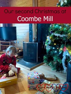 "Sophie opening presents in front of the Christmas tree in Heligan Lodge – ""Our second Christmas at Coombe Mill"" Father Christmas, Christmas 2014, Christmas Morning, Mud Kitchen, Mince Pies, Boxing Day, Twin Girls, Kids Sleep, Start The Day"
