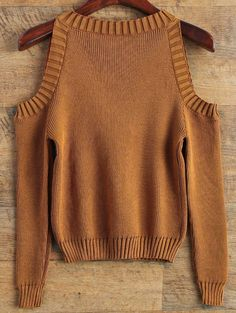 $18.49 Loose-FittingCold Shoulder Sweater COFFEE: Sweaters | ZAFUL