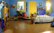 general interior sets scenic oasis film inc toy story bedroom mom recreates andy room from give Dream Bedroom, Kids Bedroom, Bedroom Ideas, Nursery Ideas, Toy Story Bedroom, Carriage Bed, Disney Bedrooms, Comfortable Pillows, Disney Home