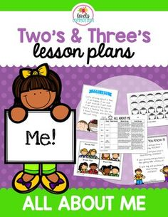 Check out the newest lesson plan set... it was created with 2 and 3 year olds in mind!  This plan includes everything you need to make your ALL ABOUT ME unit perfect!  This week long lesson plan includes:-5 Songs/Rhymes-Whole Group Activities-Small Group Activities-Center ideas for theme integration