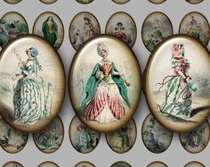 30x40 Digital Grandville Flowers - Cameo Ovals for Instant Download: Victorian Fantasy Art