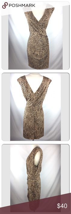 CHAUS Leopard print dress s L sleeveless v-back Dress is clipped to show silhouette of dress so that you can have an idea. It IS a large just to let ya know 🤗 chaus Dresses