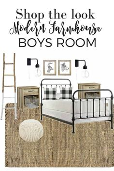 Modern farmhouse boy room design with sources. black, white, wood, natural fiber room or nursery