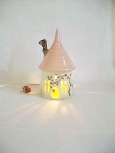 Fairy House/ Night Light / Garden Decor - Pretty Pink  Roof - a Hand Painted Rose Vine - With/or Without  Electric Cord - Ready to Ship