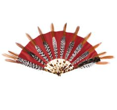 Half moon shape fan made with 18 fire pheasant feathers applied on a red silk left. Guards and sticks made of galalith. Handcrafted at the Duvelleroy atelier in Paris, France.