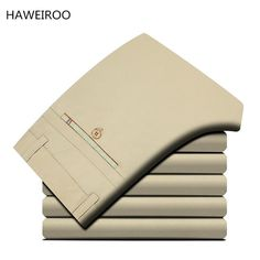 HAWEIROO 2017 New Design Casual pants Men slim Straight Trousers male Fashion Business Solid Khaki Black 100% Cotton Brand pants #Affiliate