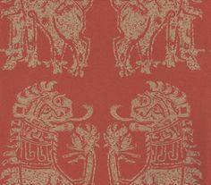 Sicilian Lions (DVIWSI103) - Sanderson Wallpapers - Based on a 1950's design with highly stylized lions with mediaeval heraldic feel.  A stunning motif pattern, perfect for a feature wall. Available in 5 colourways, shown in the gold on red. Please request a sample for true colour match.