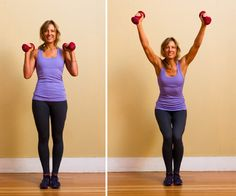 Standing with a much narrower stance while you squat targets the inner thigh, inner quad, and inner hamstring. There is no reason not to multitask on this move — so work your arms too. Here's how:   Begin standing with your legs together, arms