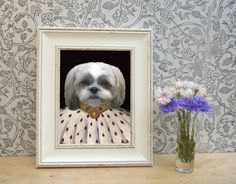 Shih Tzu in Fur Framed Pet Portrait Print by YourPetInUniform  These look really beautiful and are fantastic, unique gifts for Shih Tzu owners.