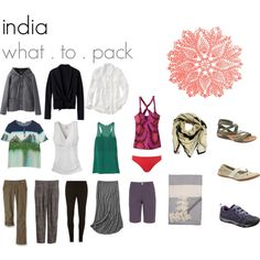 india what . to . pack by packingforthejourney on Polyvore featuring Matthew Williamson, T By Alexander Wang, Peter Jensen, H&M, prAna, The North Face, Dorothy Perkins, Freya, The CQ Store and Bohemia