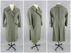 WW2 Vintage German Wehrmacht M42 Greatcoat Field Gray Wool M1942 Trenchcoat