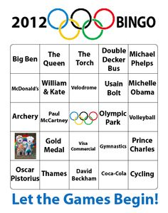 Free 2012 Olympic Bingo - play along at home!