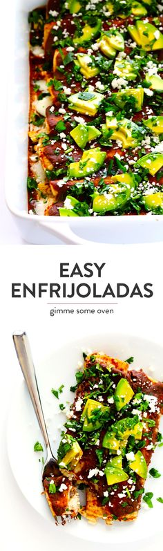This Mexican enfrijoladas recipe is made with a chipotle black bean sauce, and can be made with any of your favorite fillings (such as chicken, roasted veggies, avocado, cheese, etc).  So easy and delicious! | Gimme Some Oven #mexican #dinner #recipe
