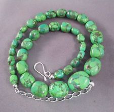 JAY KING Desert Rose Trading GREEN TURQUOISE BEADED NECKLACE Sterling Clasp