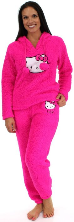 This Hello Kitty hoodie will keep anyone warm and toasty. Made of Sherpa Fleece. Embroidery of the Hello Kitty log appears on both hoodie and pants. Hood includes drawstring with pom poms. Sizes run a