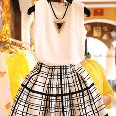 Mulheres Suit Casual 2 piece conjuntos de blusa de Organza Puff cintura xadrez vestido de verão Set 2015 nova chegada 31034 em Conjuntos Femininos de Roupas e Acessórios Femininos no AliExpress.com | Alibaba Group