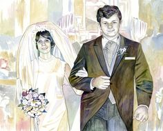 ANNIVERSARY GIFTS for PARENTS custom portrait painting from old wedding photo Golden anniversary gifts for parents from daughter son - Modern Golden Wedding Anniversary Gifts, Anniversary Gifts For Parents, Old Wedding Photos, Traditional Anniversary Gifts, Watercolor Portrait Painting, Parent Gifts, Daughter, Parents, Gifts
