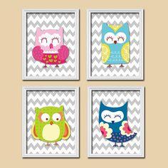 Adorable Whimsical Owl Theme Grey Chevron Pattern Artwork Set of 4 Prints Wall Decor Art Bedroom Picture Child Crib Nursery or Bathroom on Etsy, $33.00