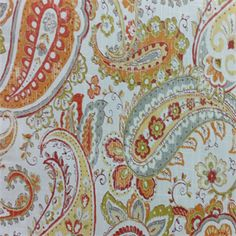This is a red, orange, yellow and gray floral paisley cotton drapery fabric, suitable for any decor in the home or office. Perfect for drapes and bedding.v112