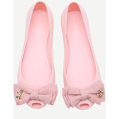 Pink Bow Embellished Peep Toe Ballet Flats ($24) ❤ liked on Polyvore featuring shoes, flats, peep toe ballet flats, pink shoes, bow flats, peep toe shoes and peep-toe shoes