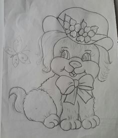 Art Drawings For Kids, Disney Drawings, Cartoon Drawings, Drawing Sketches, My Drawings, Dog Coloring Page, Cute Coloring Pages, Hand Embroidery Flowers, Baby Embroidery