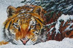 Winter time tiger, cm, oil on canvas Science And Nature, Winter Time, Oil On Canvas, Wildlife, Painting, Animals, Art, Animales, Animaux