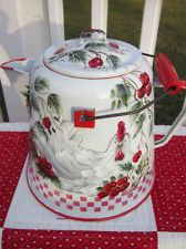 Vintage Enamel Coffee Pot Hand Painted Rooster Red French Countryt Cherries HP