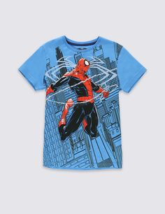 Buy the Pure Cotton Spider-Man™ T-Shirt Years) from Marks and Spencer's range. Comic Clothes, Marvel Clothes, Pajamas For Boys, Cartoon T Shirts, Boys Shirts, Spiderman, Cactus, Kids Fashion, Shirt Designs