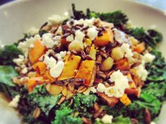 Grains and Greens: Italian Harvest Salad - This salad is fully loaded with goodness such as farro, pecans, butternut squash, chickpeas, kale and feta cheese.