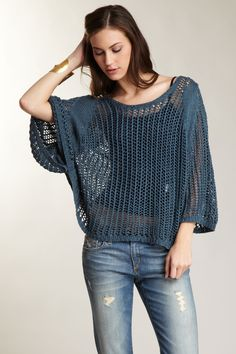 Willow & Clay  Loose Knit Poncho Sweater