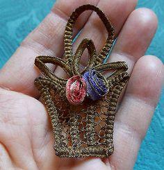 Antique French Metal Gold Lace Basket Silk Rosettes Applique Trim Stunning 1900s