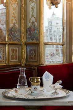 CAFFÈ FLORIAN TRADITIONAL TABLE SERVICE~ looking out on Piazza San Marco, Venice, Italy.